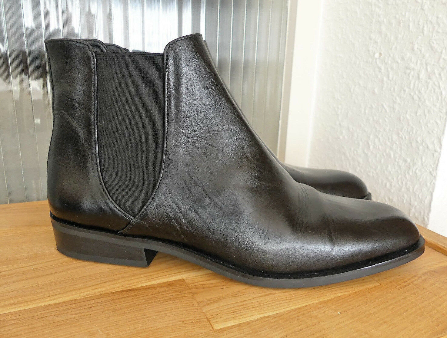ZARA BASIC CHELSEA STIEFELETTE LEDER SCHWARZ ANKLE BOOTS LEATHER BLACK