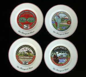 "French Cheese Plates Set - Vintage Advertising Images in Red -Set of 4 8"" Plates"