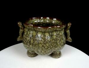 CHINESE-GE-TYPE-POTTERY-CRACKLE-GLAZE-MELON-RIBBED-HANDLED-TRI-FOOTED-5-034-CENSER