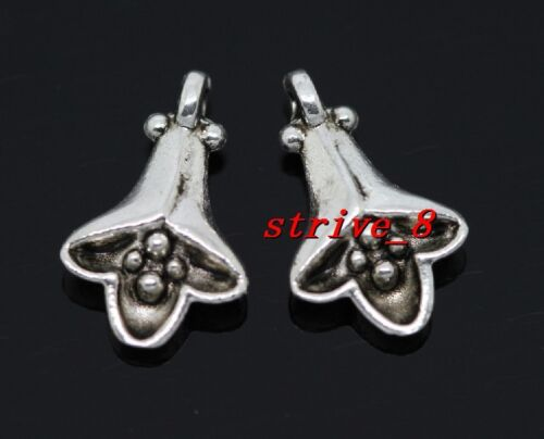 15//60//300pcs Tibetan Silver two-sided Morning Glory Charms Pendant 14x9mm