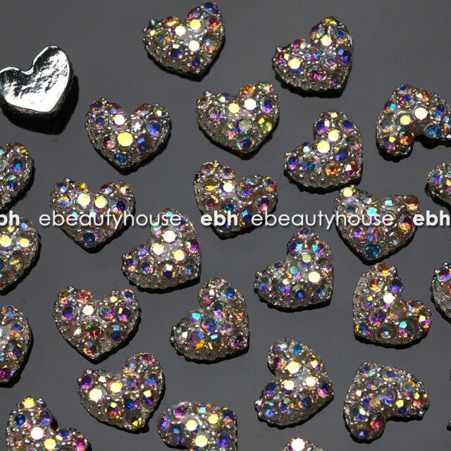 10 Pcs Alloy Jewelry 3D DIY AB Rhinestone Nail Art Glitters Slices #EJ-114