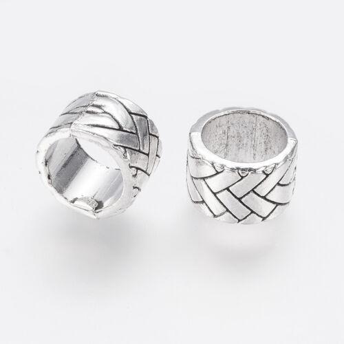 10PCS Tibetan Style AlloyBeads Large Hole Beads Column Antique Silver 13x8mm
