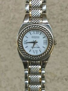 Ecclissi Sterling Silver REVERSIBLE Band Bracelet Watch Two Tone/Silver New Batt