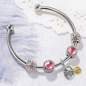 European-Pink-Crystal-Dangle-Heart-Beaded-Silver-Charm-Opening-Bangle-Bracelet