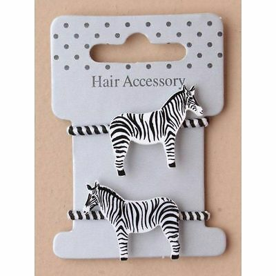 girls hair bobbles great for end of plaits 2 striped elastics with zebra motif