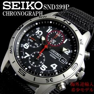 New-SEIKO-SND399P-SND399P1-Chronograph-100m-Black-Men-039-s-Watch-from-Japan