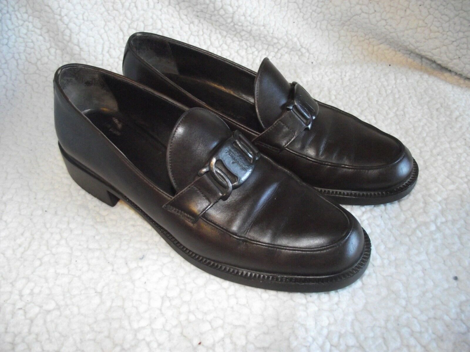 Salvatore Ferragamo Sport Womens 36 Brown Heeled Loafers with Silver Nameplate