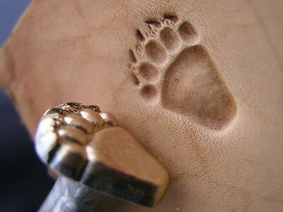 017-03 SET of FRONT and REAR Bear Grizzly track paw Leather Tool stamps