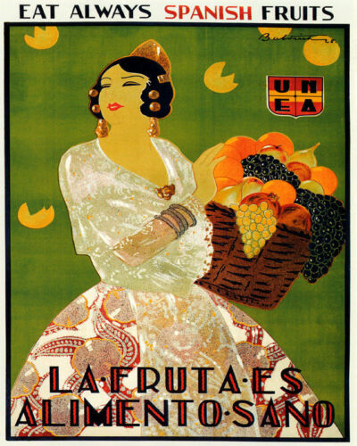 POSTER EAT ALWAYS SPANISH FRUITS FRUIT IS HEALTHY FOOD VINTAGE REPRO FREE S//H
