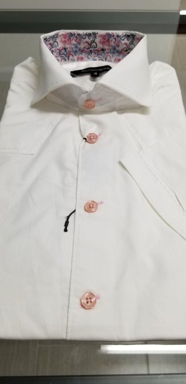 Wow NWT Bogosse Men's size 3 or medium short sleeve button down shirt, DETAILED