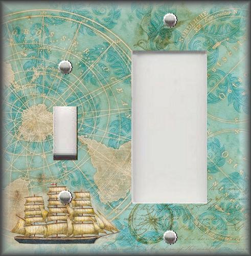 Travel Map Ship Coastal Home Decor Map Decor Metal Light Switch Plate Cover