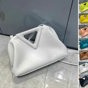 Triangle Top Handle Real Leather Small Tote Bag Clutch Frame Crossbody Purse