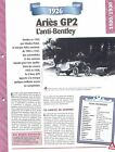 Ariès GP2 1926 France Car Auto FICHE FRANCE