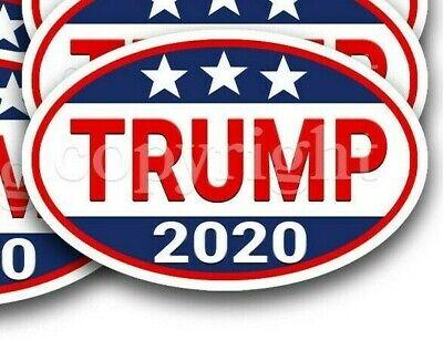 "Trump 2020 Bumper Stickers Tri Star Trump 2020 Decals 5/"" wide 2 pack RWB Bbdr"