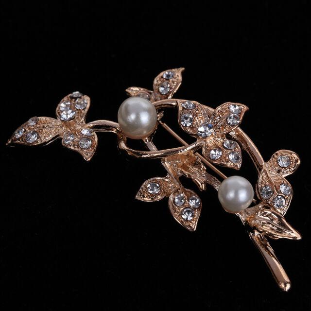 Charm Hot Gold Plated Flower Leaf Faux Pearl Crystal Wedding Brooch Pin Lady