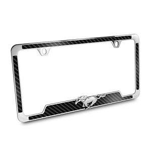 image is loading ford mustang 3d pony black carbon fiber vinyl - Mustang License Plate Frame