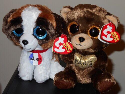 DARCY NEW MWMT 6 Inch /& JACK Ty Beanie Boos Set Dog PARIS EXCLUSIVE Bear