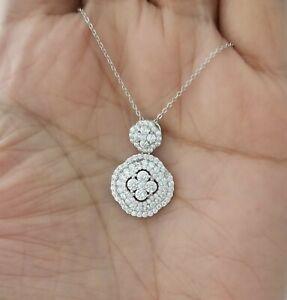 14k-White-Gold-Finish-Round-Diamond-Floral-Pendant-Necklace