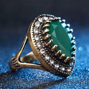 Boho Style Vintage Big Stone Ring Gold Mosaic Crystal Turkish Jewelry Gift WE