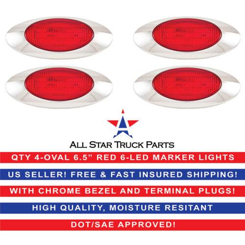 "6.5/"" Oval Side Marker Light 6 LED Red Chrome Bezel Freightliner Trailer-QTY 4"
