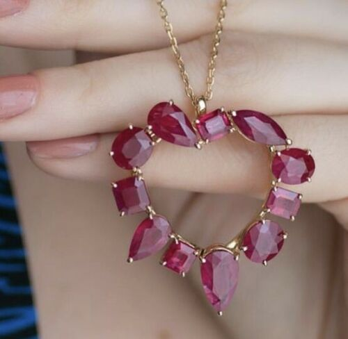 """1.50 Ct Red Ruby Heart Style Pendant With 18/"""" Chain Solid 14K Yellow Gold Over"""