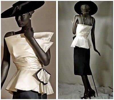 1940s Style Evening Dress B&W Silk Origami  Italian Couture Sz 6 #1190