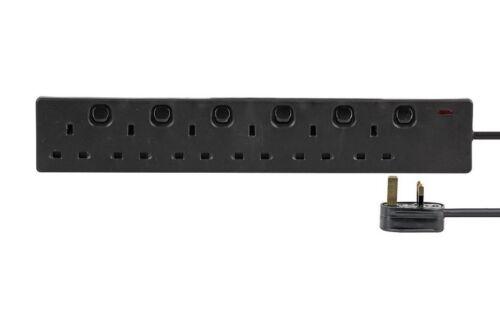 6 Way Gang 2 M Mètre Individuellement Switched Alimentation Secteur Extension Câble sous Plomb Noir