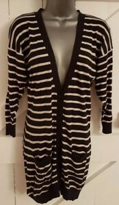 Deep-Navy-White-Striped-Cardigan-Thin-Knit-Casual-Long-Pockets-Ladies-Women-039-s