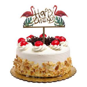 Das Bild Wird Geladen Glitter Gold Acrylic Flamingo Happy Birthday Cake Topper