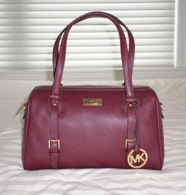 michael kors medium top zip bedford satchel bag merlot leather rh ebay com