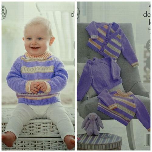 Tejer patrón bebé puente de punto fácil a Rayas /& Cárdigan King Cole dk 4913