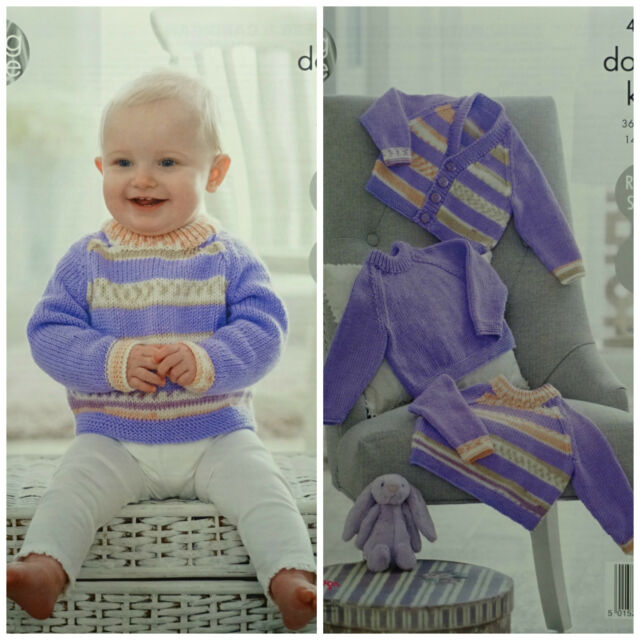 5c682cac3 Knitting Pattern Baby Easy Knit Round Neck Striped Jumper King Cole ...
