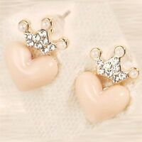 Princess Crown Pink Heart Earrings - Nip - Pierced / Post - Pearls / Czs