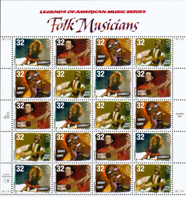 1998 32c Folk Musicians, Sheet of 20 Scott 3212-15 Mint