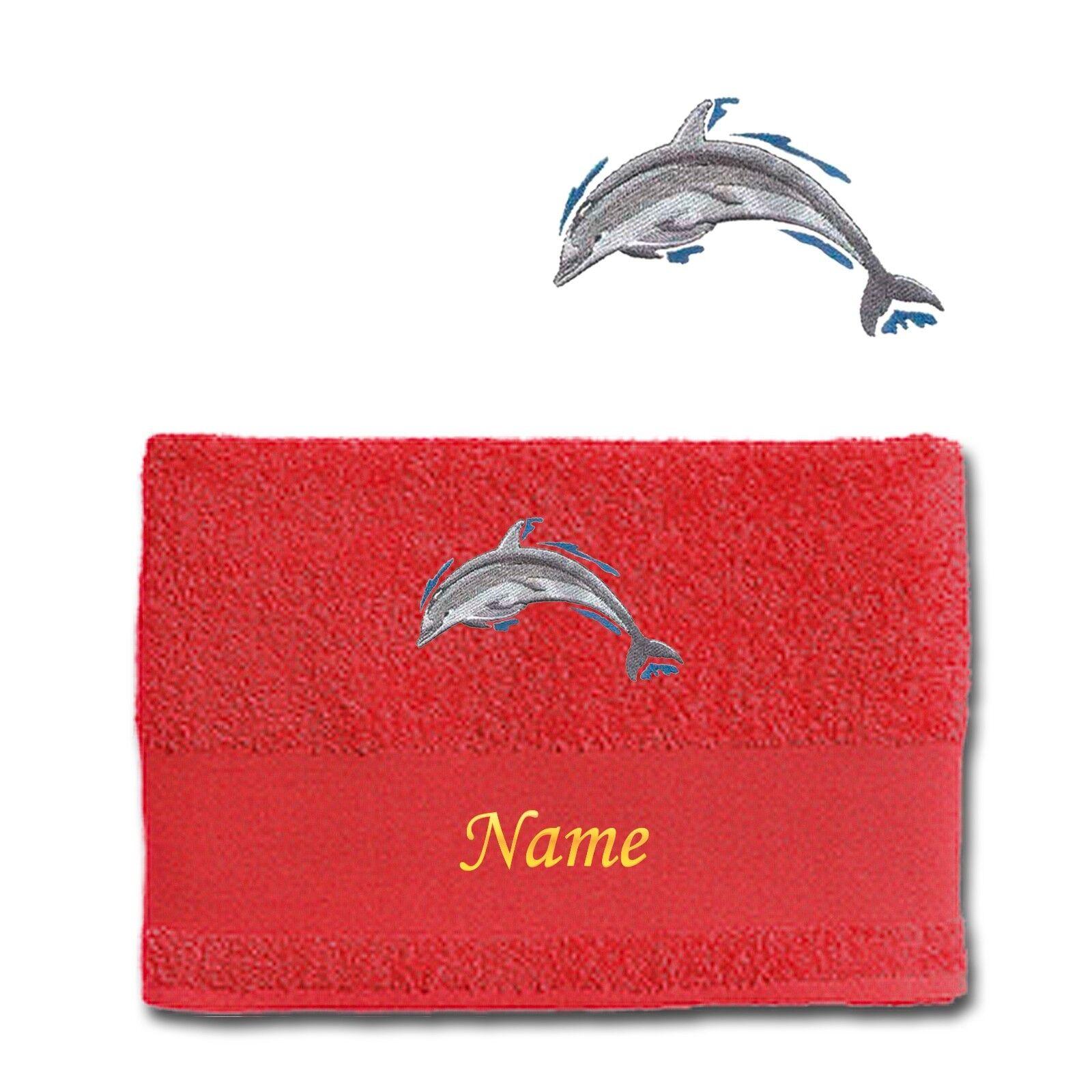 Asciugamano duschtuch balneazione Panno Cotone Ricamato Ricamo Delfino Delfini Delfini Delfini + nome 082a98