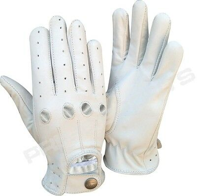 b956550f09652 Details about REAL SOFT LEATHER MEN'S TOP QUALITY DRIVING GLOVES STYLISH  FASHION D-507 WHITE