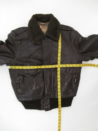 Schott Bros Vintage Brown Leather w Fur Collar Bom