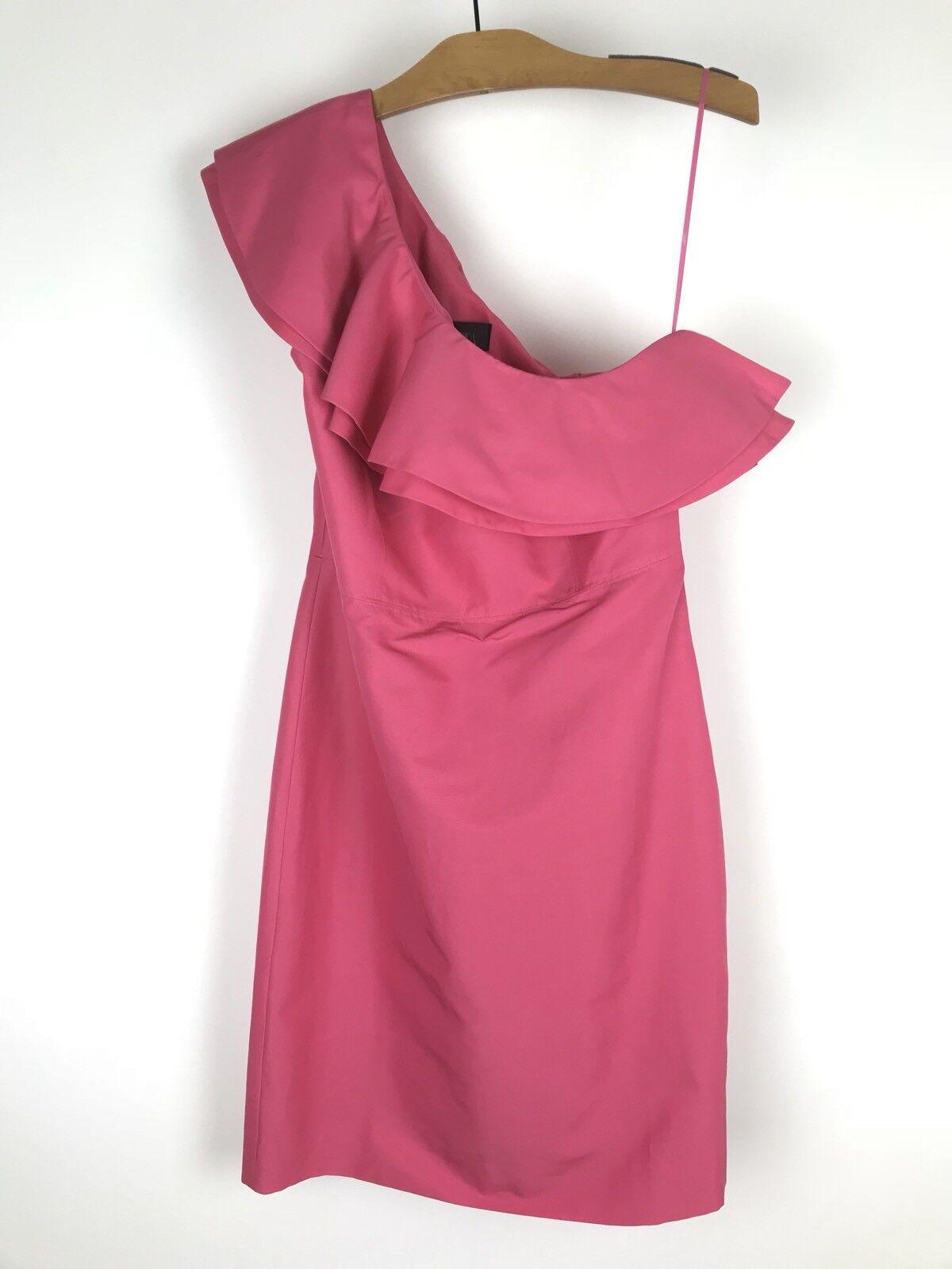 NWT J.Crew One Shoulder Ruffle Sheath Dress in Faille Silk Blend Pink Sz 8