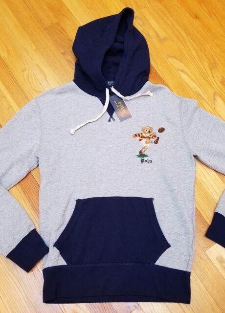 Polo Ralph Lauren Bear Skull and Crossbones Gray Fleece Hoodie S Small NWT $148