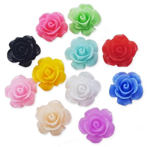 10pcs Mix 15 mm Resin Flatback Fleur Cabochons Embellissement DEcoden Carte Craft