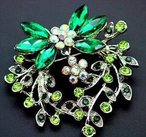 Delightful-HEART-Flower-Dangle-Bow-PETAL-Rhinestone-Vintage-Inspire-Brooch-Green