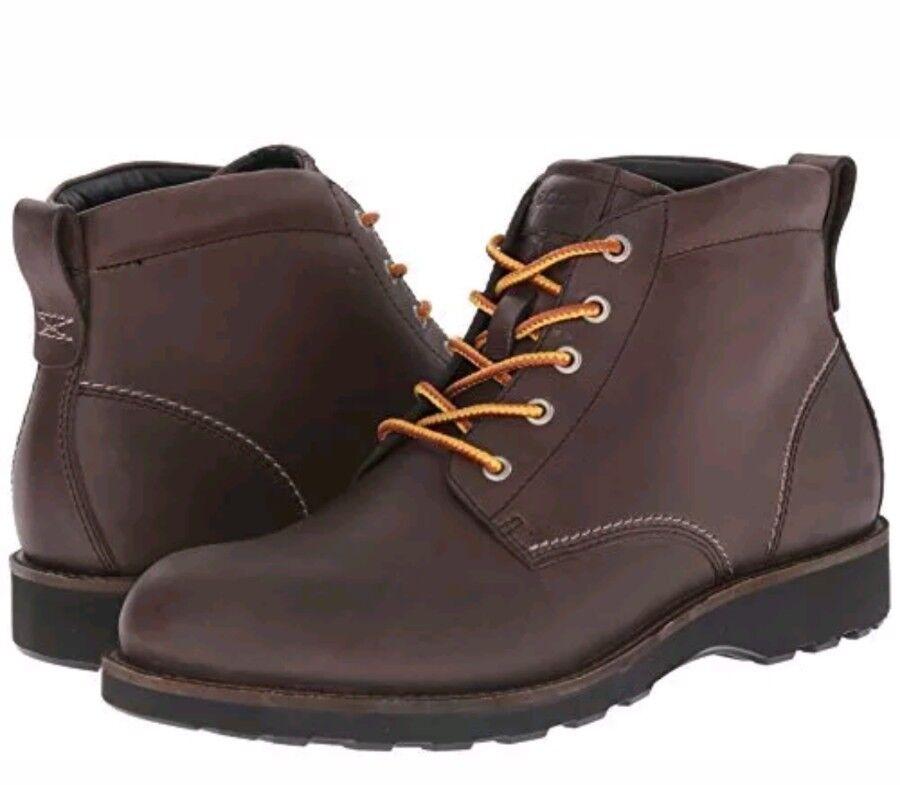 ECCO Men's Holbrok Plain Toe Chukka Boot, Dark Clay, 40 EU / 6-6.5 M US Hydromax