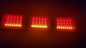 Pair 12/24V LED Jumbo Tail lights,Triple RED/AMBER Truck,Krueger Trailer,Caravan