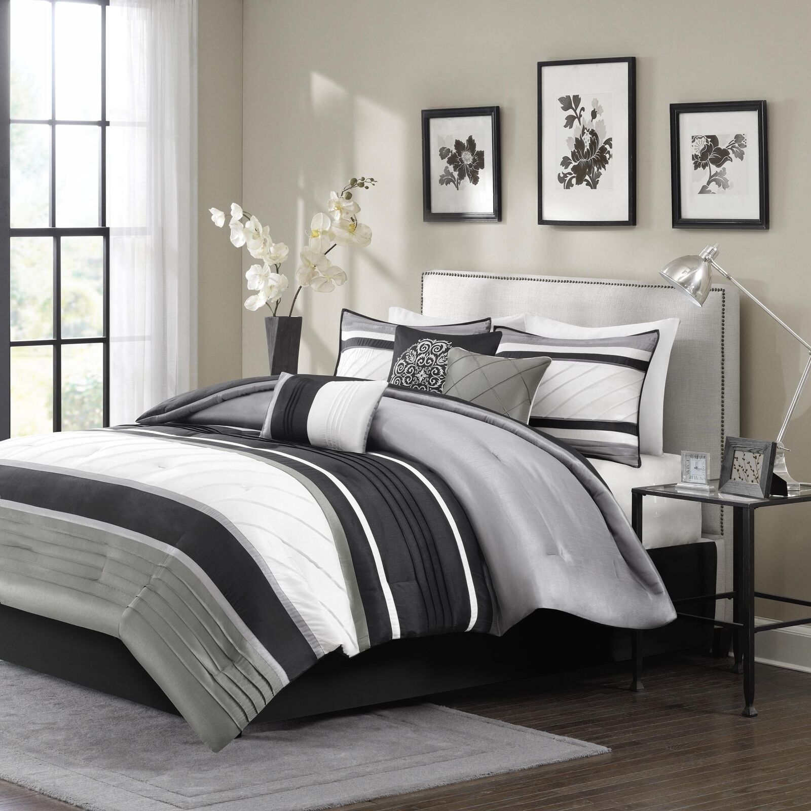 Madison Park Blaire Queen Size Bed Comforter Set Bed in A Bag - Grey, Stripe ...