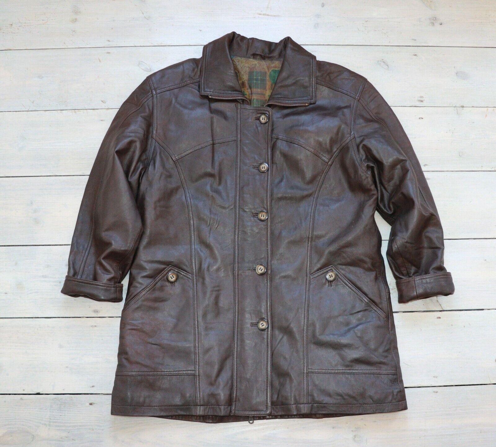 Women's Vintage 80s Oversized Brown 100% Leather Jacket Coat UK16 UK18