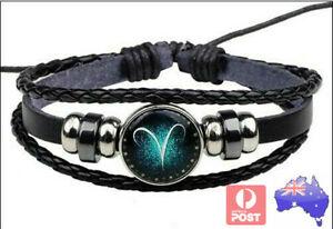 Black-Leather-Bracelet-12-star-Constellations-Wristband-Men-Women-Gift