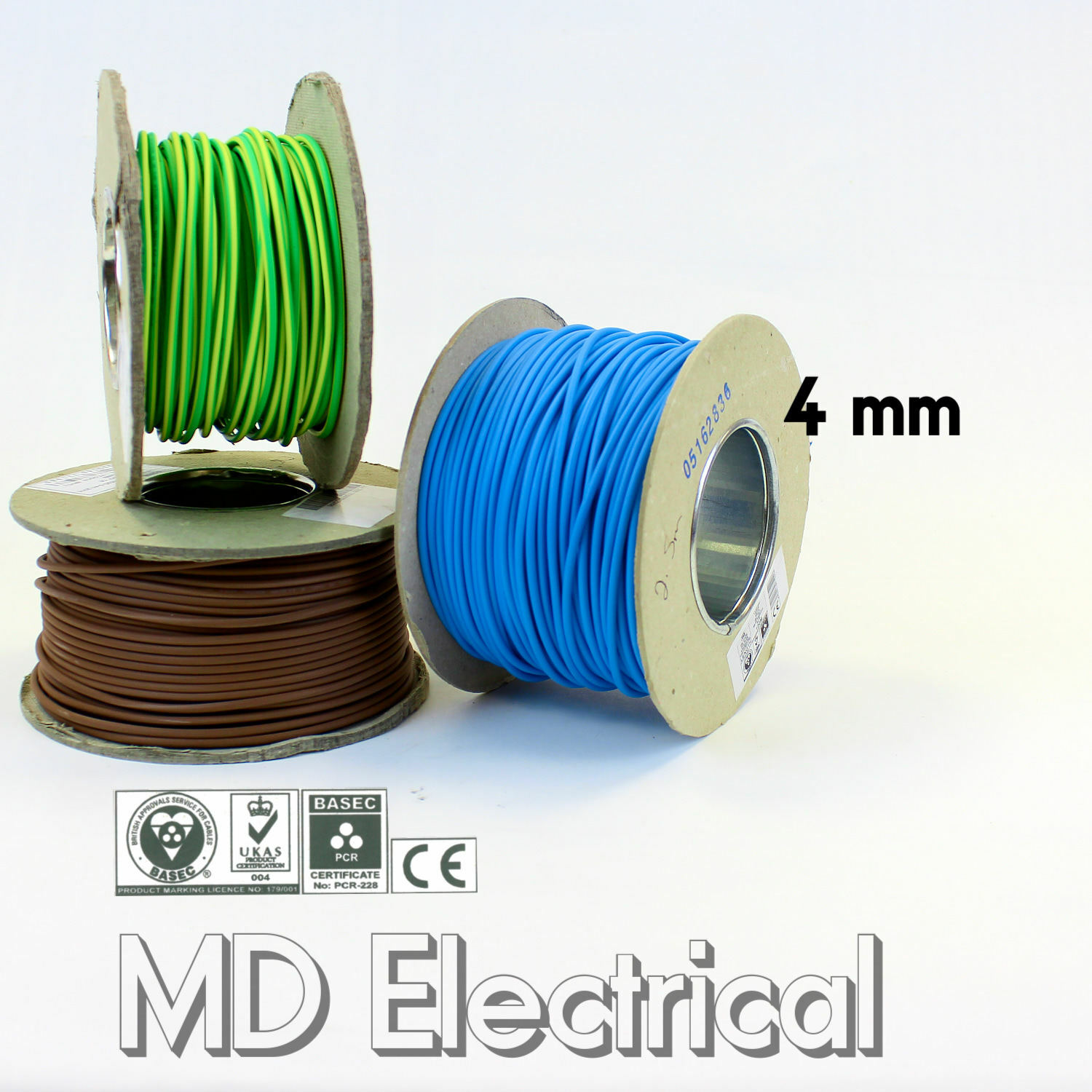 4 mm Single Core Conduit Cable 6491X bluee Brown Earth Yellow Green Bonding Wire