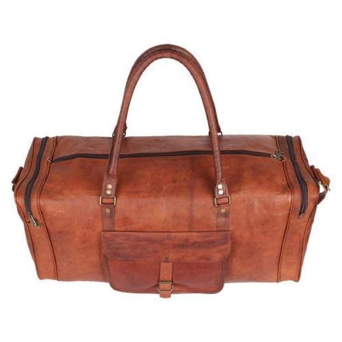 60 cm Vintage Leder Reisetasche Sporttasche Weekender Handgepäck Retro Style