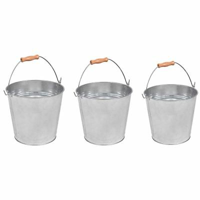 9 10 12L Litre Bucket Galvanised Metal Heavy Duty Wooden Handle By Home Discount