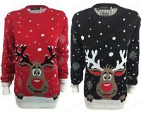 NEW WOMENS LADIES RUDOLPH REINDEER KNITTED XMAS CHRISTMAS JUMPER PLUS SIZE 8-22